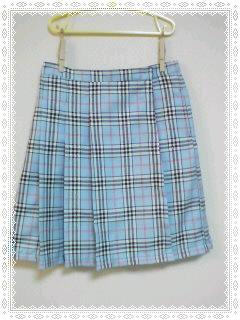 ブルーチェックのスカート