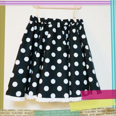黒水玉サーキュラースカート